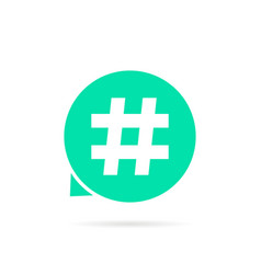 green hashtag logo with shadow vector image vector image