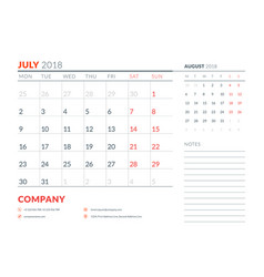 july 2018 calendar planner design template week vector image vector image