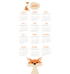 2019 cartoon style childish calendar fox and vector image
