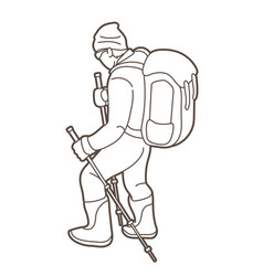 a man hiking on mountain cartoon graphic vector image
