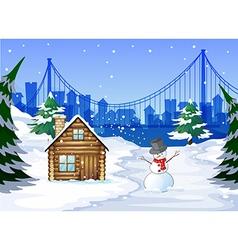 A snowman near the bamboo house vector image