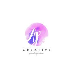 ap watercolor letter logo design with purple vector image