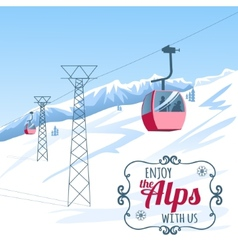 Background postcard with cable-way in alps vector