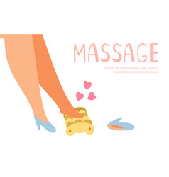 Bare feet massage background foot massager vector