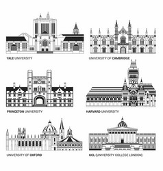 best national universities flat buildings of yale vector image