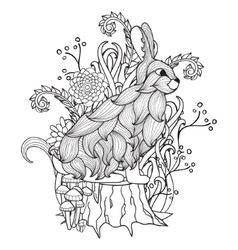 Black and white bunny tree stump wood flowers vector
