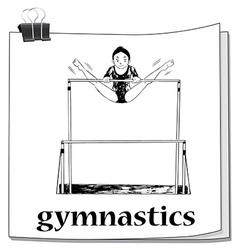 Card with woman doing gymnastics vector image