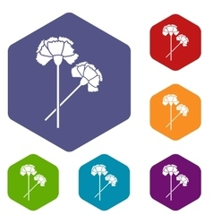Carnation icons set vector image