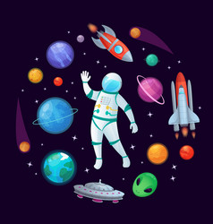 Cartoon astronaut in space spaceman rocket stary vector