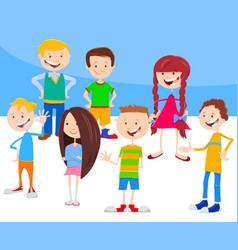 cartoon kids and teens characters group vector image