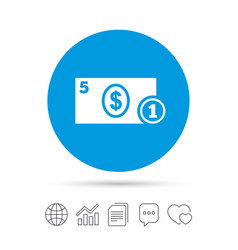 Cash sign icon dollar money symbol coin vector