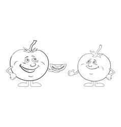 Character tomatoes friends outline vector image
