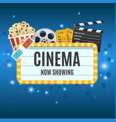Cinema banner movie watching vector