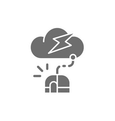 computer mouse with cloud server grey icon vector image