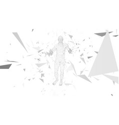 Conceptual abstract man connected lines dots vector