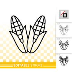 Corn simple black line fall harvest icon vector
