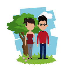 Couple lovely stand tree background vector