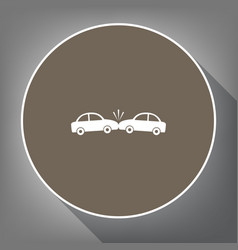 crashed cars sign white icon on brown vector image
