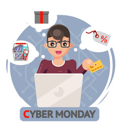 credit card laptop online shopping cyber monday vector image