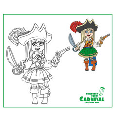 cute girl in pirate costume color and outlined vector image