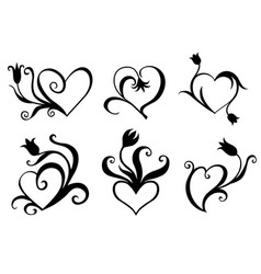 decorative hearts set for valentines day vector image