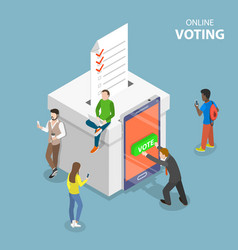 e-voting system flat isometric conceptual vector image