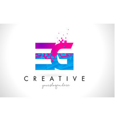 Eg e g letter logo with shattered broken blue vector