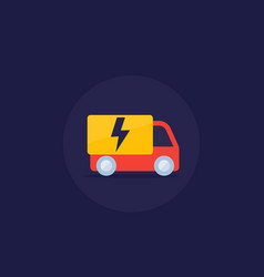 Electric van icon in flat style vector