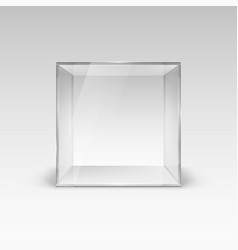 empty glass showcase in cube form on white vector image