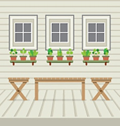 Empty three benches on wood wall and ground vector