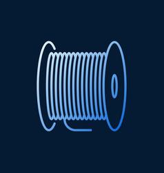 Fiber optic cable bobbin concept blue vector