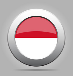 flag of indonesia metallic gray round button vector image
