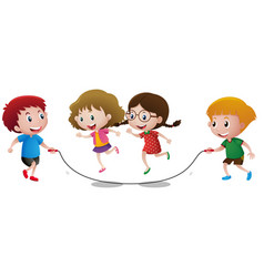 four kids playing jump rope vector image