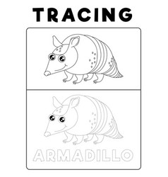 Funny armadillo animal tracing book with example vector