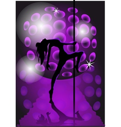 Girl dancing with a pole vector