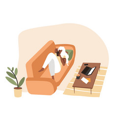 girl lying on sofa using smartphone device at home vector image