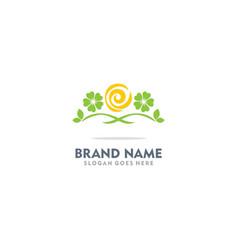 green leaf flower ornament logo vector image