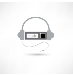 grey headphones and mp3 player vector image