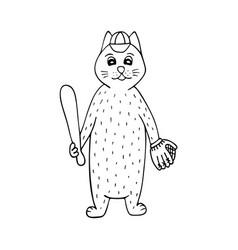 hand-drawn cat baseball player black-and-white vector image
