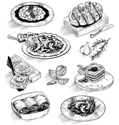 Hand drawn menu food sketches vector