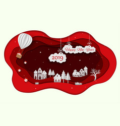 happy new year 2019 on paper art red background vector image