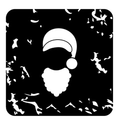 Hat and curly beard of Santa Claus icon vector