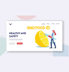 Healthy genetically modified food landing page vector