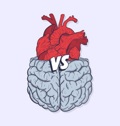 Heart vs brain concept of mind against love fight vector