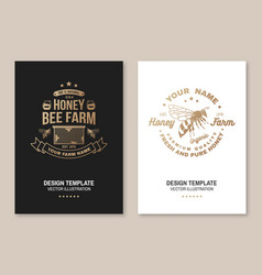 honey farm badge concept for poster vector image