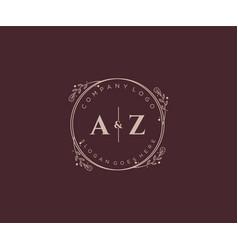 Initial az letters decorative luxury wedding logo vector