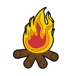 isolated wood fire vector image