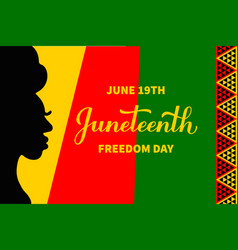 juneteenth typography poster african american vector image