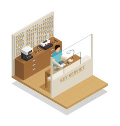 key service isometric composition vector image
