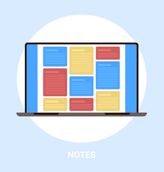 laptop screen with colorful notes computer vector image